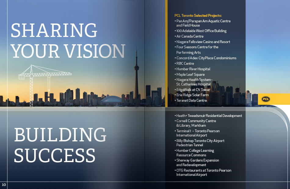 PCL Toronto Corporate Booklet - city skyline spread
