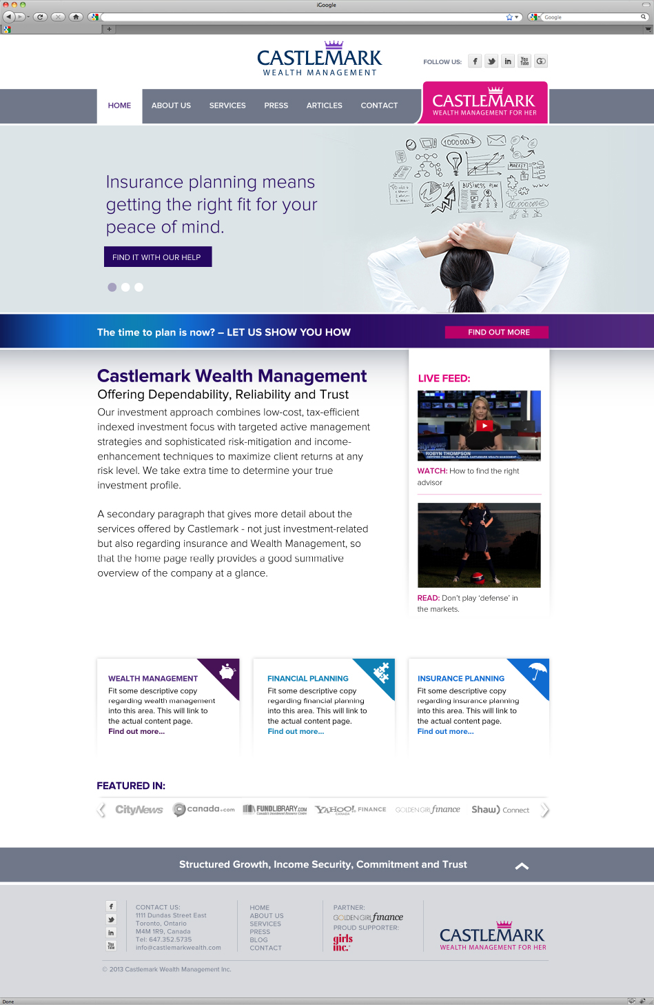 Castlemark Wealth Management website interface