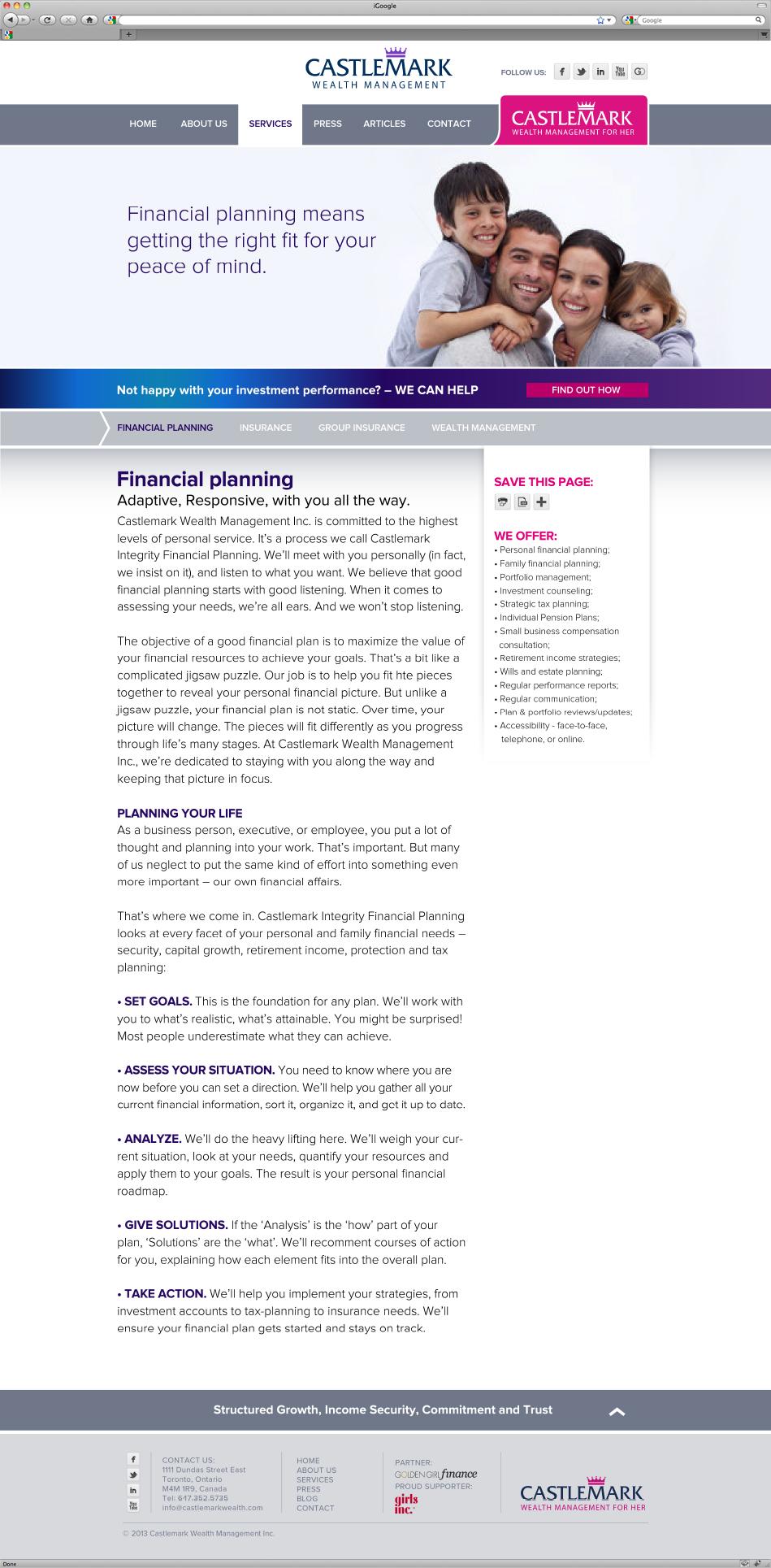 Castlemark Wealth Management website interface