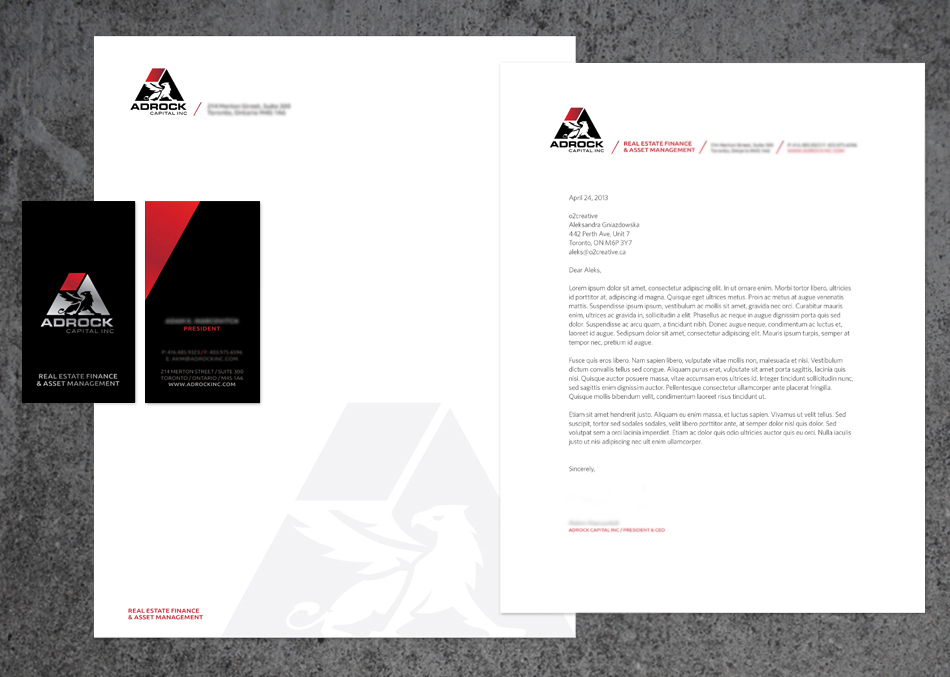 Adrock Capital Inc visual identity stationery