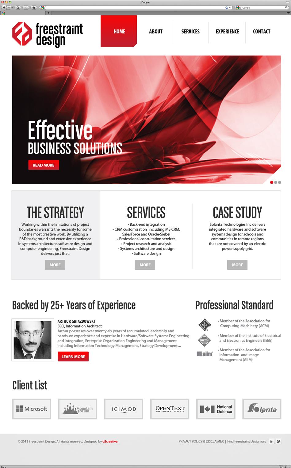 Freestraint Design website interface