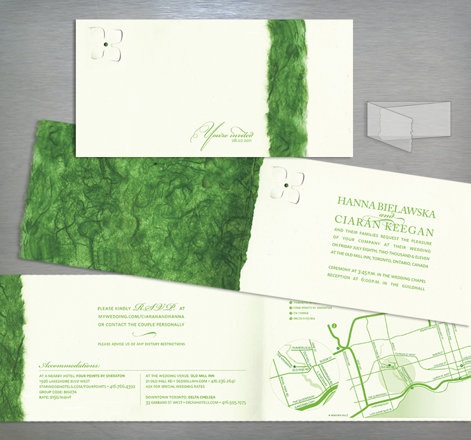Wedding invitation design in green and champagne