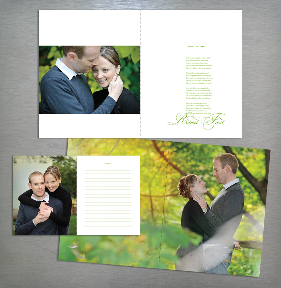 Wedding book design in green and champagne