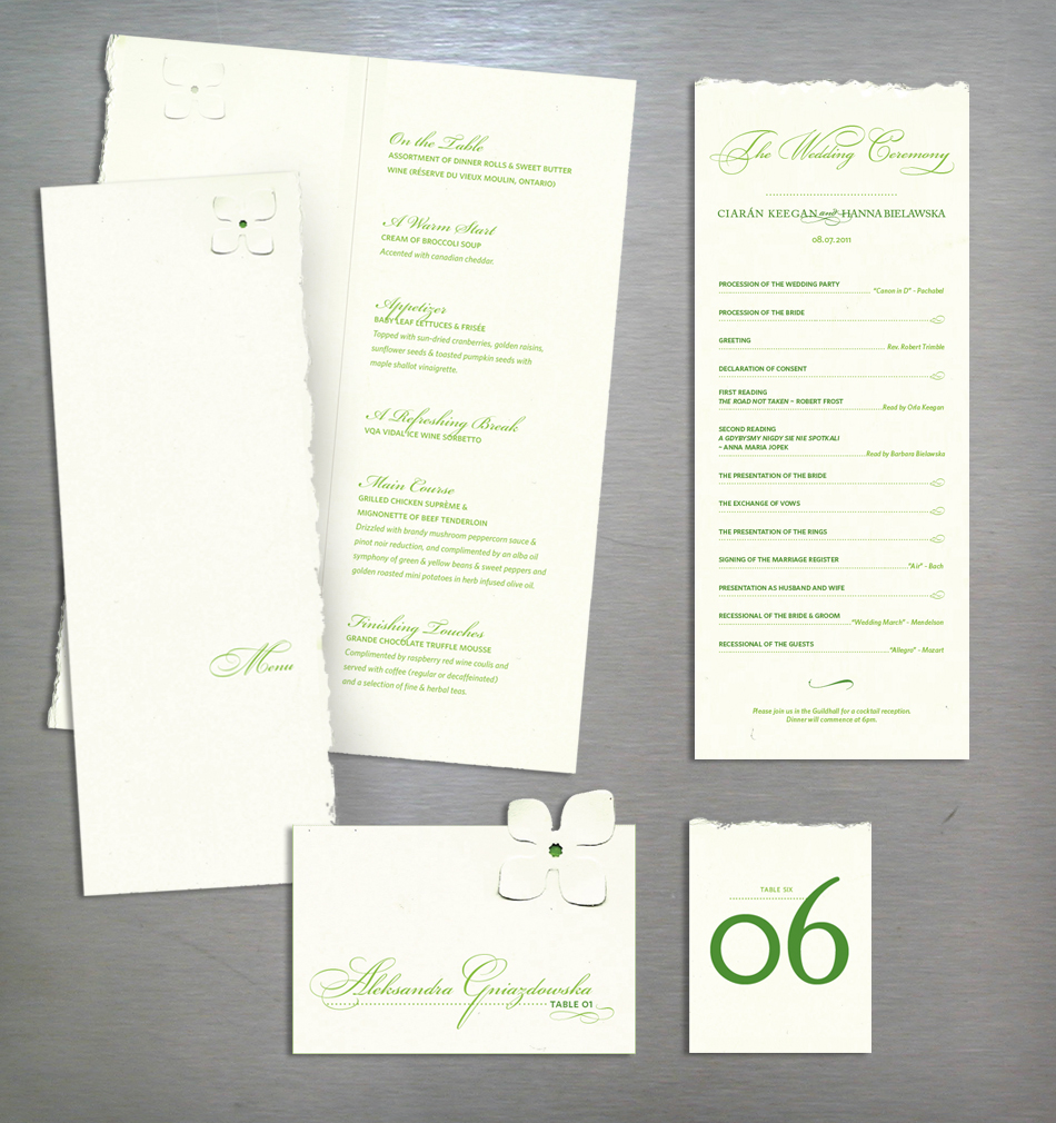 Wedding collateral design in green and champagne