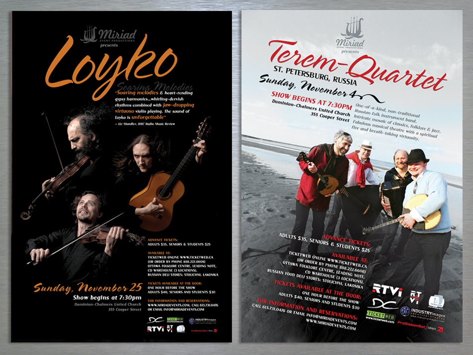 Myriad Event productions visual identity posters