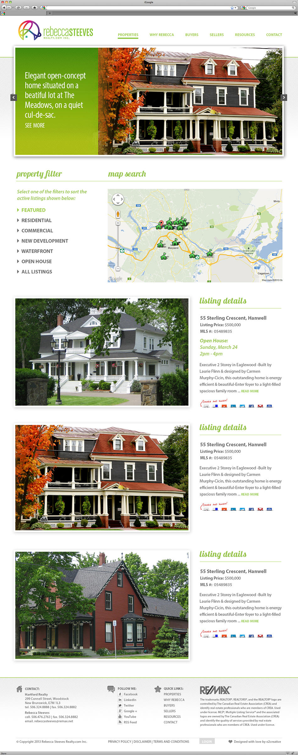Rebecca Steeves real estate website interface