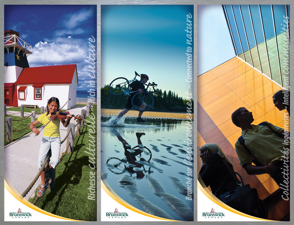 Government of New Brunswick marketing campaign banners for the Francophonie summit in Switzerland