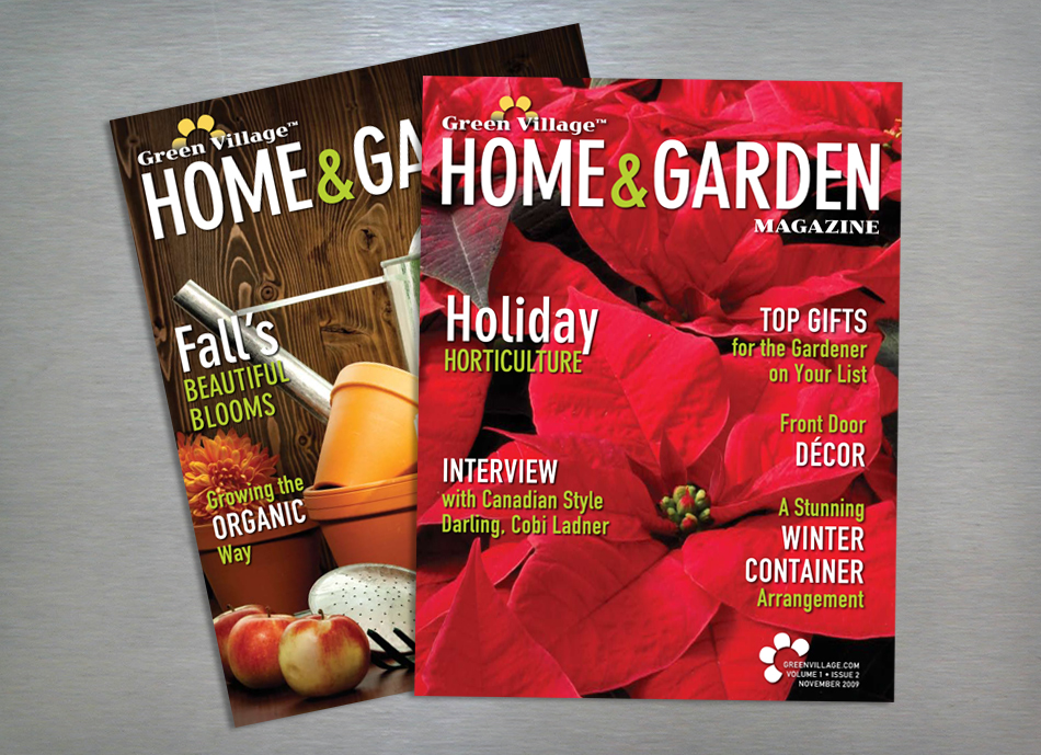 Green Village Home and Garden magazine editorial design covers
