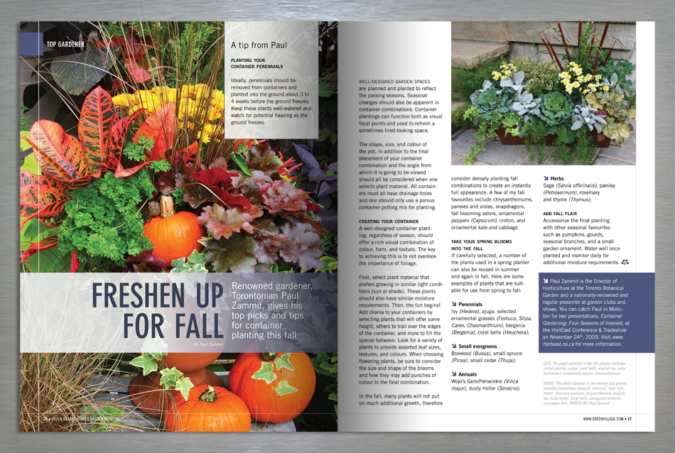Green Village Home and Garden magazine editorial design