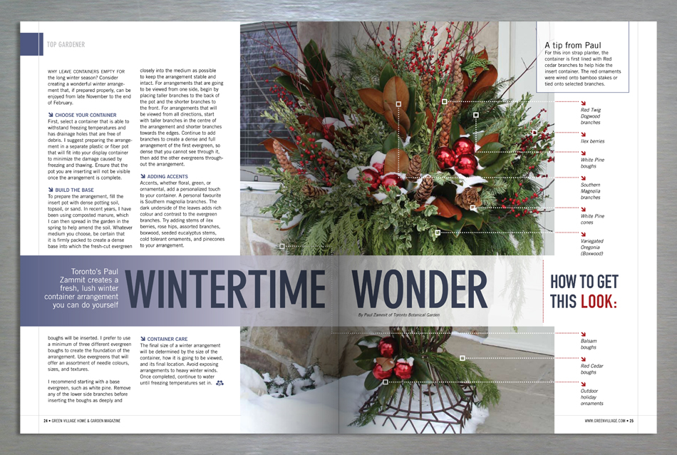 Green Village Home and Garden magazine editorial design for winter decoration