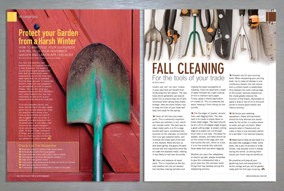 Green Village Home and Garden magazine editorial design for tool maintenance
