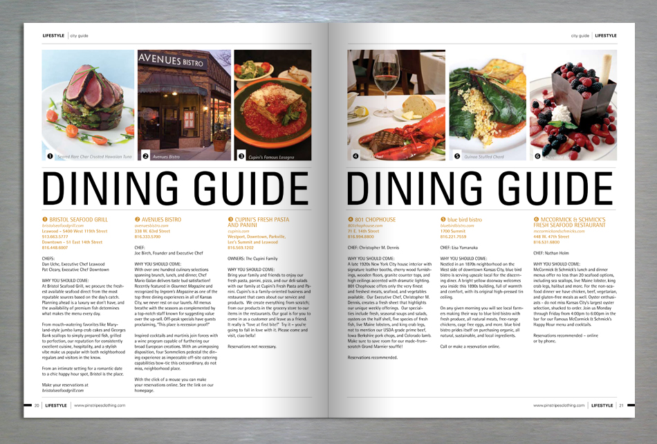 Lifestyle retail magazine editorial design on local dining