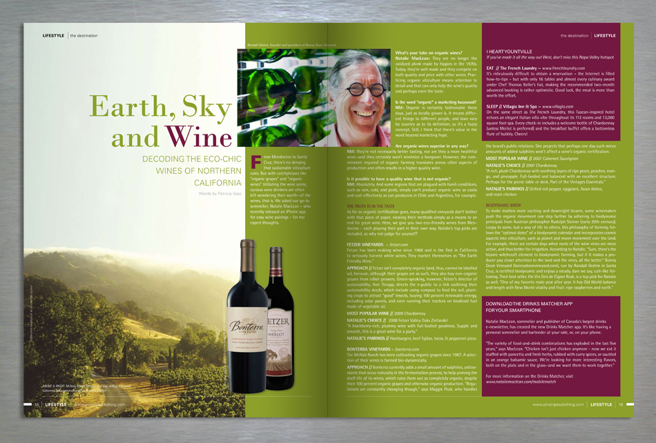 Lifestyle retail magazine editorial design feature article on wine