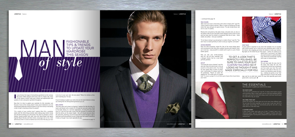 Lifestyle retail magazine editorial design feature article