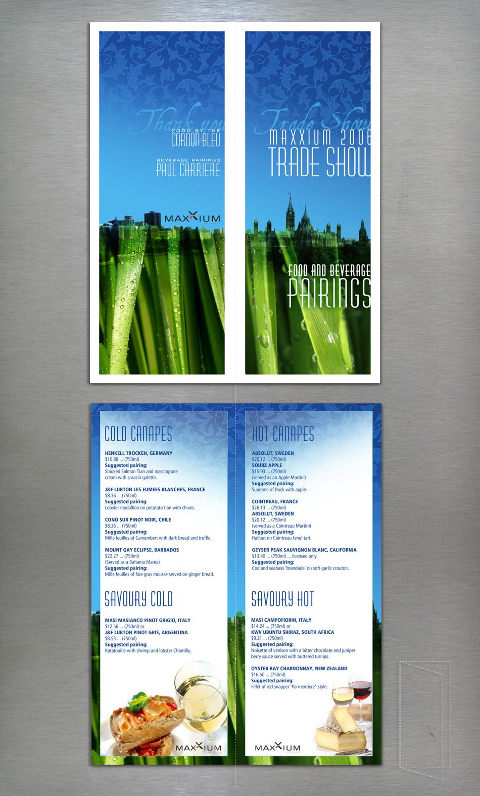 Maxxium liquor company - menu design