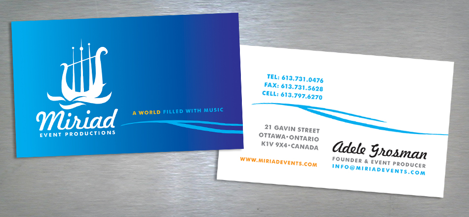 Myriad Event productions visual identity business cards