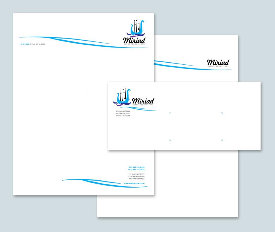 Myriad Event productions visual identity stationery