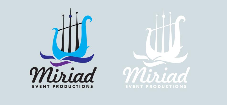 Myriad Event productions visual identity