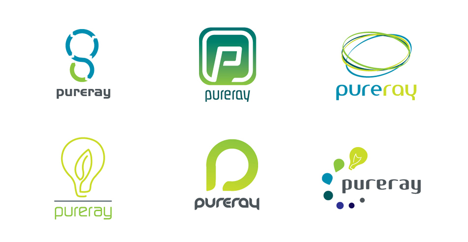 PureRay visual identity logo variations