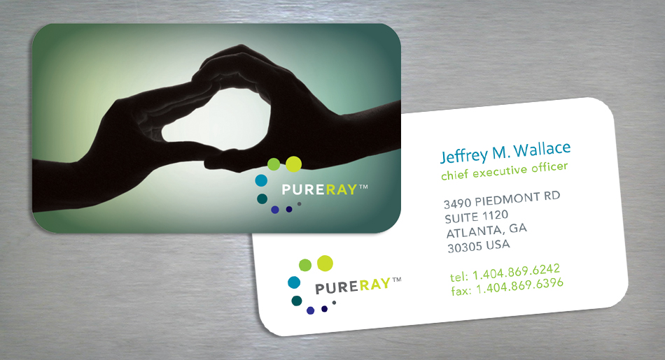 PureRay visual identity business card