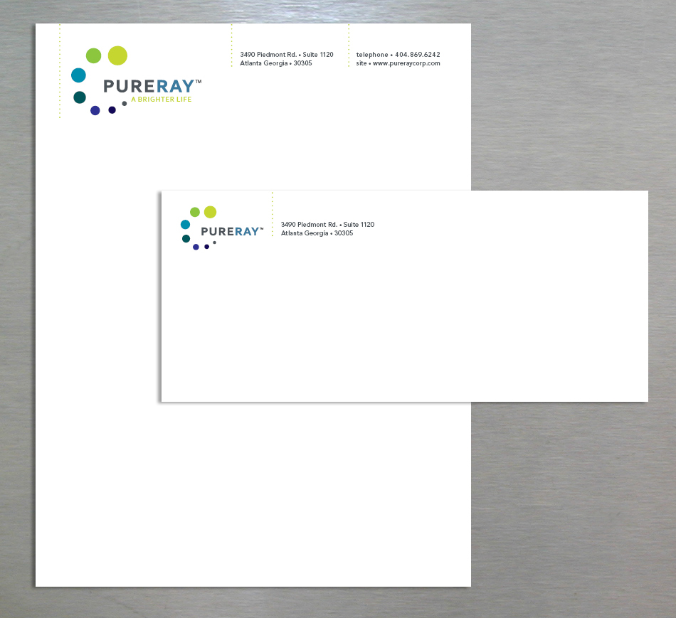 PureRay visual identity letterhead