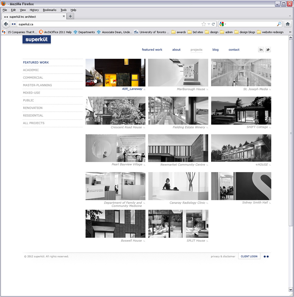 Superkul Inc Architect website interface